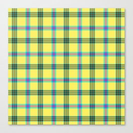 lemon love plaid with a dash of pink and blue Canvas Print