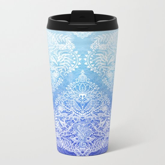 Out of the Blue - White Lace Doodle in Ombre Aqua and Cobalt Metal Travel Mug