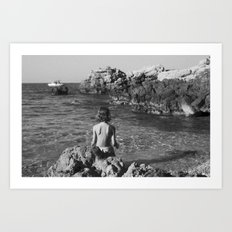 on the rocks by the sea Art Print