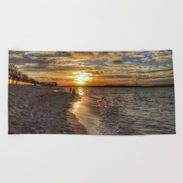 Sunbathing in the Winter time Beach Towel