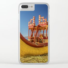 Reed boat on Floating Island of Uros Clear iPhone Case
