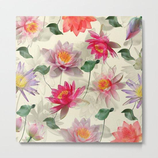 Lotus Flower Pattern Metal Print