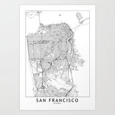 San Francisco White Map Art Print
