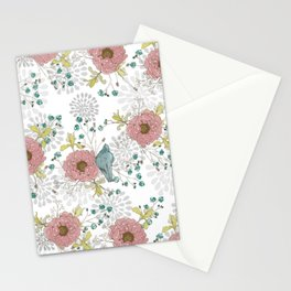 Blue Bird and Peonies Stationery Cards