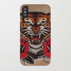 Old School Tiger and roses - tattoo iPhone X Slim Case