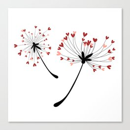 Floating Dandelion Heart Seeds by Cam Fam Creations Canvas Print
