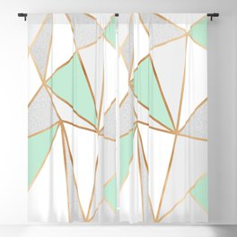 Mint Green, Grey & Gold Geo Blackout Curtain