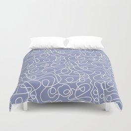 Doodle Line Art | White Lines on Dusty Purple Duvet Cover