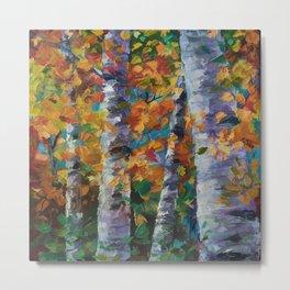 Birch trees - Palette Knife  Metal Print