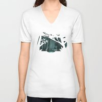 fireflies V-neck T-shirts featuring Chasing fireflies by scarriebarrie