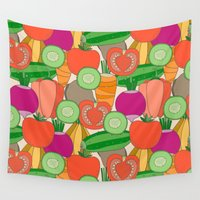 vegetables Wall Tapestries featuring Vegetables by Valendji
