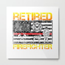 Thin Red Line Firefighter Hero Retirement Retired Metal Print