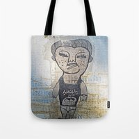 potato Tote Bags featuring Small Potato  by Ethna Gillespie