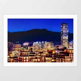 Shangri La Hotel and Vancouver Grousse Mountain Art Print