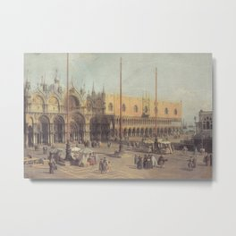 Piazza San Marco South East - Canaletto (Distressed Plaster Look) Metal Print