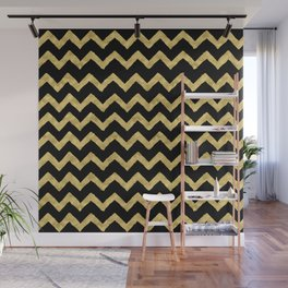 Chevron Black And Gold Wall Mural