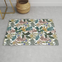 Pattern with tigers and leaves Rug