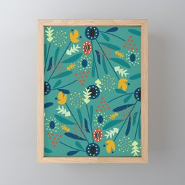 Floral dance in blue Framed Mini Art Print