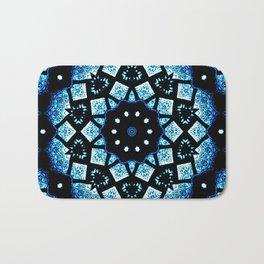 Blue Black Mosaic Kaleidoscope Mandala Bath Mat