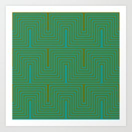 Doors & corners op art pattern in olive green and aqua blue Art Print