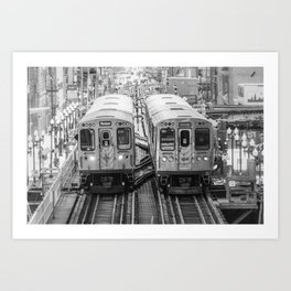 Black and White Chicago Train El Train above Wabash Ave the Loop Windy City Art Print