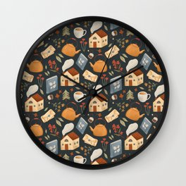 Cozy Cottage Pattern Wall Clock