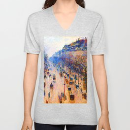 Camille Pissarro Boulevard Montmartre Winter Unisex V-Neck