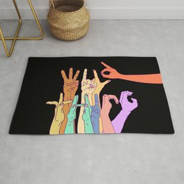 Wild Thing Hand Alphabet Illustration Rug