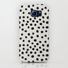 Preppy brushstroke free polka dots black and white spots dots dalmation animal spots design minimal Galaxy S8 Slim Case