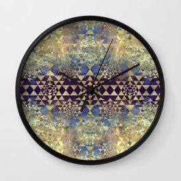 Sri Yantra  / Sri Chakra Pattern - Gold and Marble Wall Clock