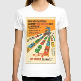 1970 American Issue Vintage Hot Wheels Redline Factory Poster T-shirt