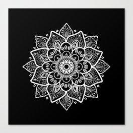White Mandala On Black Leinwanddruck