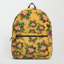 Watercolor Flowers on Yellow Background Backpack