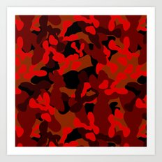 Camouflage (Red) Art Print