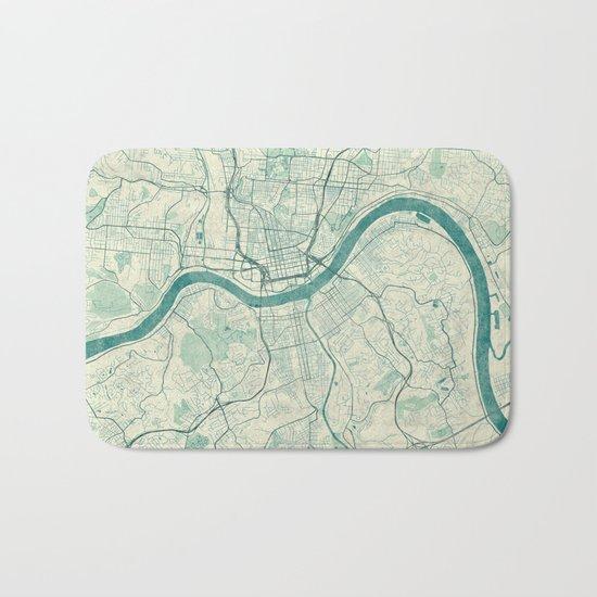 Cincinnati Map Blue Vintage Bath Mat