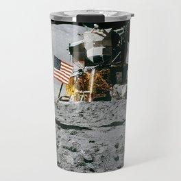 Man on the Moon with American Flag Travel Mug