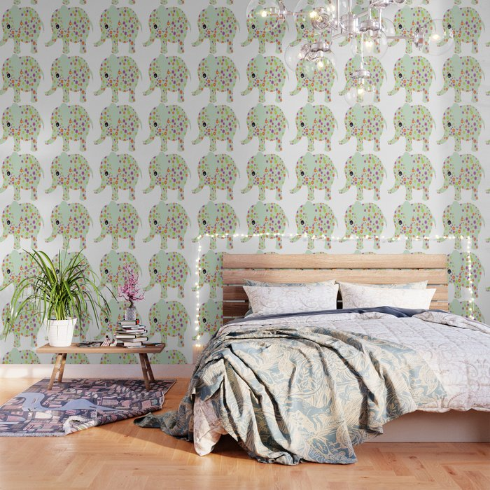 Society6 Cute Floral Elephant Peel And Stick Wallpaper By Ashleyredmon 2 X 4 From Society6 Daily Mail
