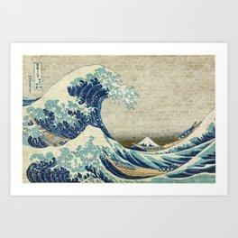 Brick Wall Painting Japanese Great Wave off Kanagawa - Urban Artist Art Print