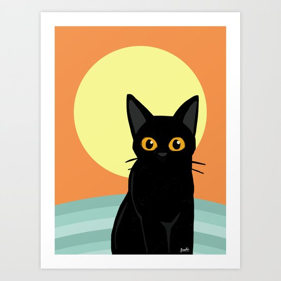 Sunset and cat Art Print