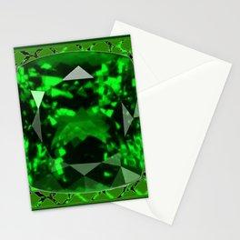 EMERALD GREEN MAY GEM BIRTHSTONE MODERN ART DESIGN Stationery Cards