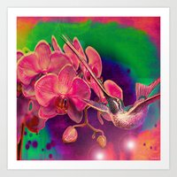 hummingbird Art Prints featuring Hummingbird by Ganech joe