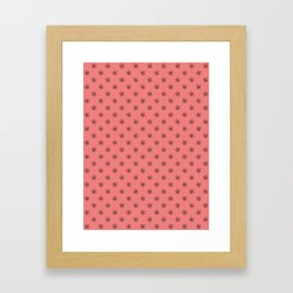 Black on Coral Pink Snowflakes Framed Art Print