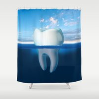 tooth Shower Curtains featuring Tooth Iceberg by Dan Cretu