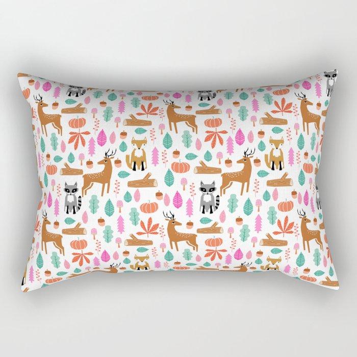 Autumn Fall Deer Raccoon cute kids bedroom forest woodland pattern art Rectangular Pillow