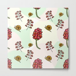 red flowers and snails pattern Metal Print