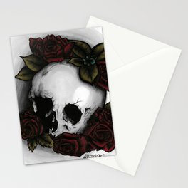 human skull with roses Stationery Cards