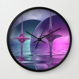 where the world is pink and turquoise Wall Clock