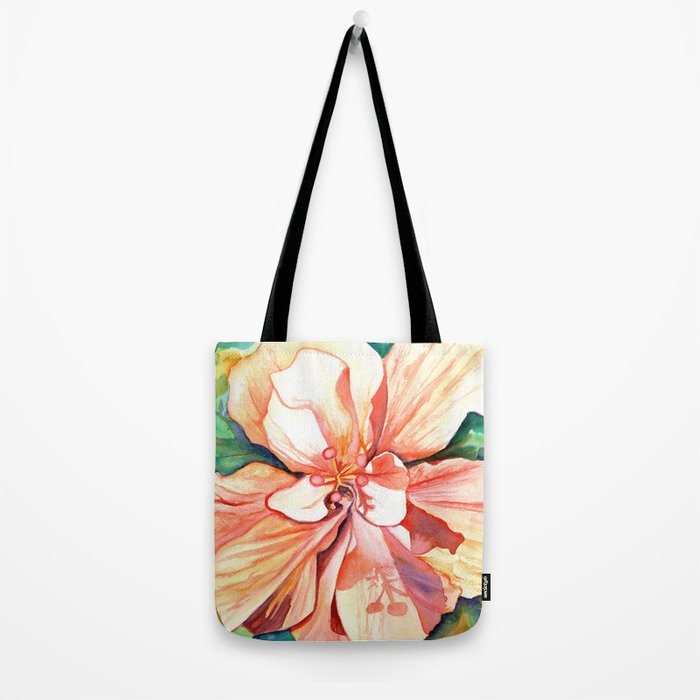 Double Peach Tropical Hibiscus Tote Bag