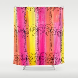 Live For the Moment (palm trees pattern summer beach tropical) Shower Curtain