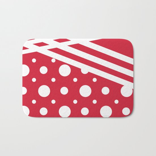 White dots on a red background. Bath Mat